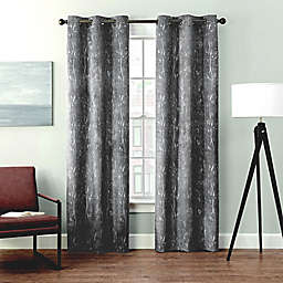Brookstone® Velvet Sprigs 2-Pack 84-Inch 100% Blackout Window Curtain Panels in Grey