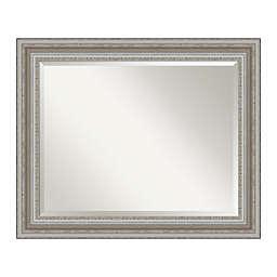 Amanti Art Parlor 34-Inch x 28-Inch Framed Bathroom Vanity Mirror in Nickel/Silver