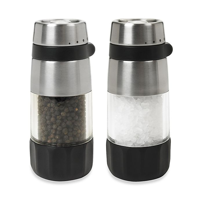 Alternate image 1 for OXO Good Grips® Mess-Free Pepper Grinder Set