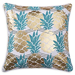 Levtex Home Carmen Pineapple Square Throw Pillow in Gold/Teal