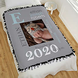 All About Baby Boy Personalized 50-Inch x 60-Inch Tie Photo Blanket