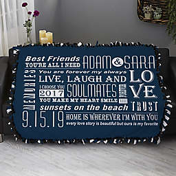 Our Life Together Personalized 50-Inch x 60-Inch Tie Blanket