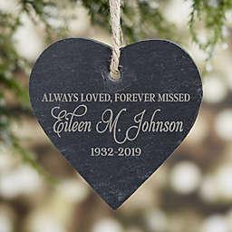 Memorial Engraved Heart Slate Ornament