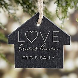 Love Lives Here Engraved Slate Ornament
