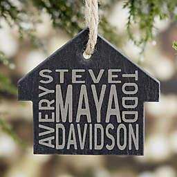 Family Names Engraved House Slate Ornament
