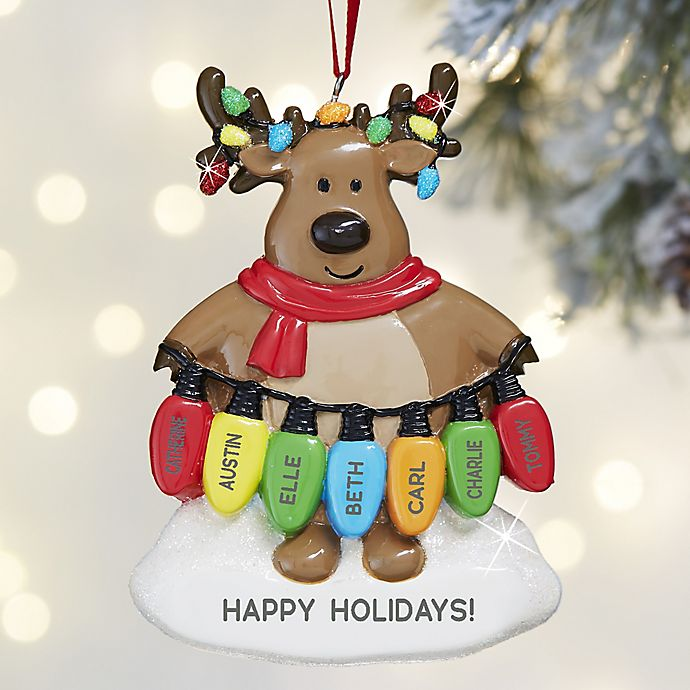 Christmas Lights Reindeer Personalized Christmas Ornament ...