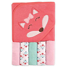 Luvable Friends® 6-Piece Hooded Towel and Washcloths Set in Pink
