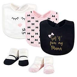 Little Treasure 5-Piece Mama Bib and Sock Set in Black