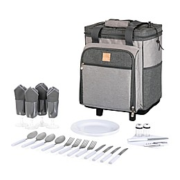 Picnic Time® 28-Piece Rolling Picnic Cooler in Heathered Grey