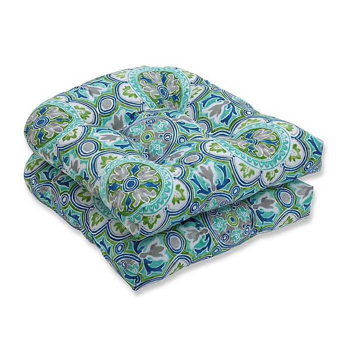 Pillow Perfect Lagoa Tile Tufted Wicker Seat Cushions In Blue Set Of 2 Bed Bath Beyond