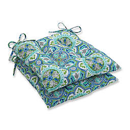 Pillow Perfect Lagoa Tile Wrought Iron Tufted Seat Cushions in Blue (Set of 2)