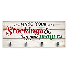 P. Graham Dunn Hang Your Stockings Sign with Hooks 10-Inch x 24-Inch Wood Wall Art