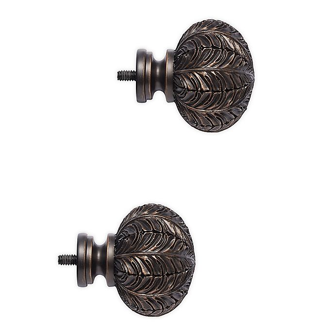 Alternate image 1 for Cambria® Classic Leaf Finials in Matte Brown (Set of 2)