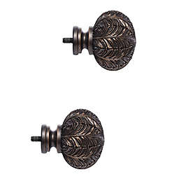 Cambria® Classic Leaf Finials in Matte Brown (Set of 2)