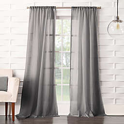 No. 918® Lourdes Crush Texture 84-Inch Rod Pocket Semi-Sheer Window Curtain Panel in Grey