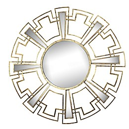 A&B Home Rhodes 46-Inch Round Wall Mirror in Gold