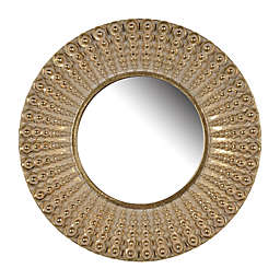 A&B Home Aubrey 14-Inch Round Sunburst Wall Mirror in Gold
