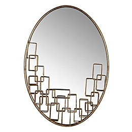 A&B Home Maxime  23.8-Inch x 16.5-Inch Oval Wall Mirror in Antique Gold