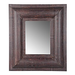 A&B Home Xavier 29.9-Inch x 26-Inch Rectangular Leather Mirror in Brown