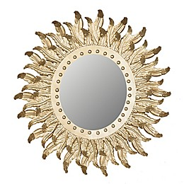A&B Home Hemmingways 20-Inch Round Feather Mirror in Gold
