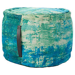Mina Victory Watercolor Indoor/Outdoor Pouf in Blue/Green