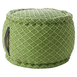 Mina Victory Woven Lattice Indoor/Outdoor Pouf in Green