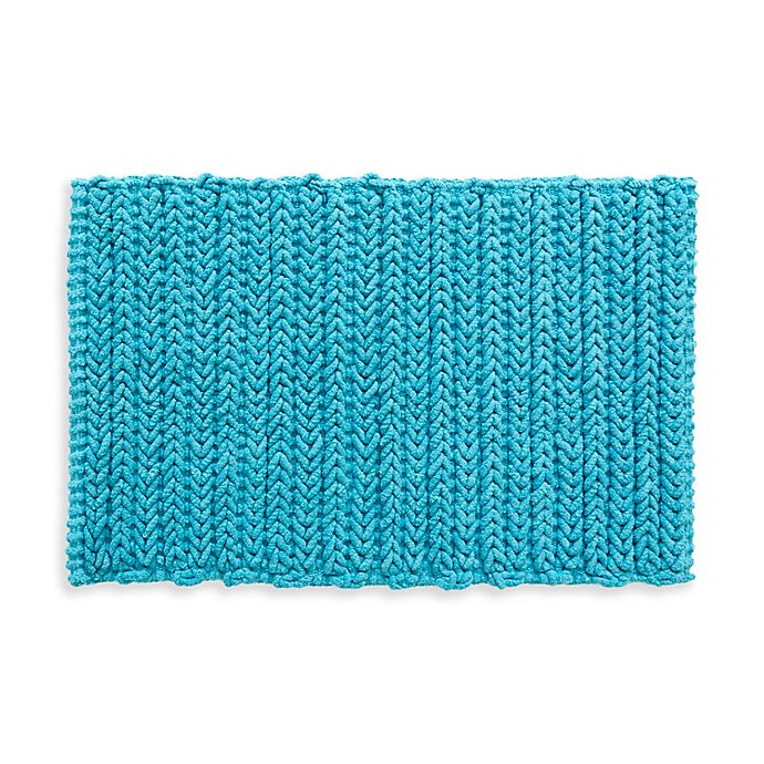 Alternate image 1 for Madison Park Lasso Yarn Dyed Cotton Chenille Chain Stitch Rug in Blue