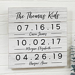 Memorable Dates Personalized 12-Inch Square Wooden Shiplap Sign