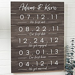 Memorable Dates Personalized 16-Inch x 20-Inch Wooden Shiplap Sign