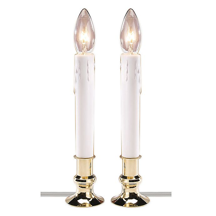 Alternate image 1 for Electric Candle Lamps in Brass (Set of 2)