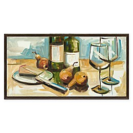 Artissimo Designs Pears Well with Wine 25-Inch x 13-Inch Framed Canvas
