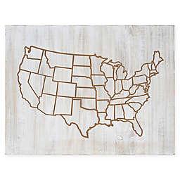 Uniek United States Map 32-Inch x 24-Inch Cut Wood Art