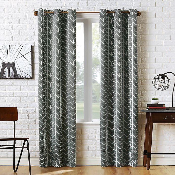 Alternate image 1 for Sun Zero® Kenwood Chevron 95-Inch Room Darkening Window Curtain Panel in Gray