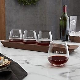 Magnus Engraved Set of 4 Glasses & Tray Set