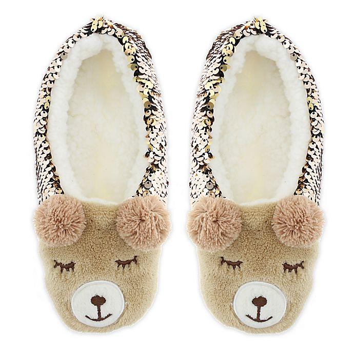 Alternate image 1 for Capelli New York Women's Sequin Bear Slipper Socks