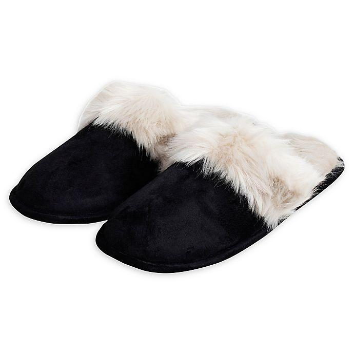 Alternate image 1 for Loft Living Women's Faux Fur Memory Foam Slippers in Black