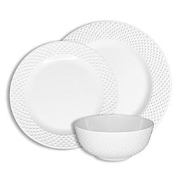 222 Fifth Swiss Dots 12-Piece Dinnerware Set in White
