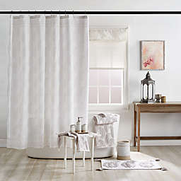 Textured Paisley Shower Curtain in Grey