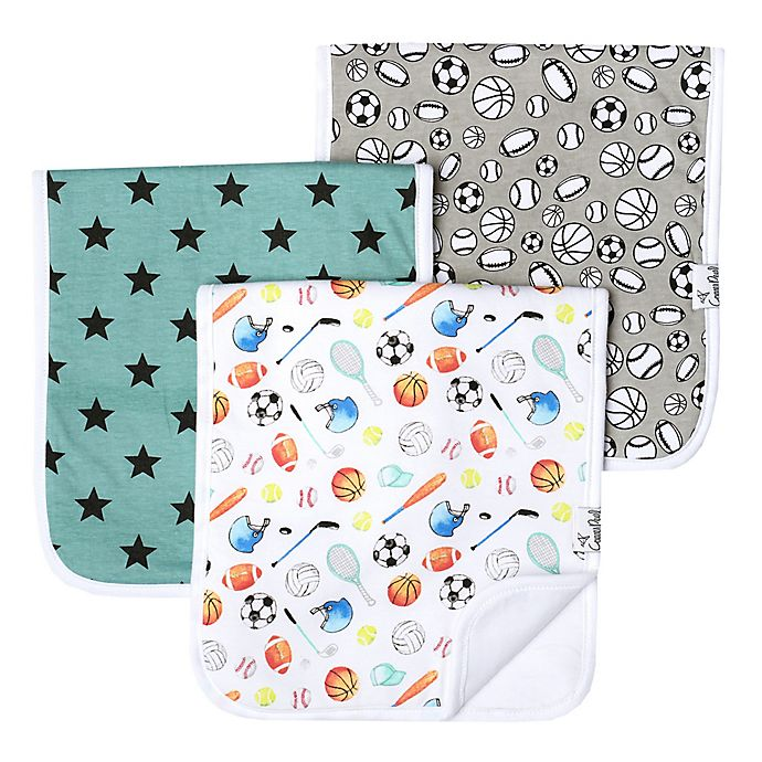 Alternate image 1 for Copper Pearl 3-Pack Varsity Burp Cloths