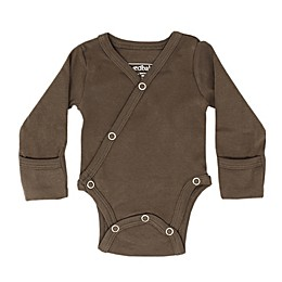 L'ovedbaby® Kimono Organic Cotton Long Sleeve Bodysuit in Bark