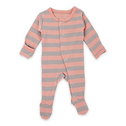 L'ovedbaby® Stripe Footed Organic Cotton Toddler Coverall in Coral/Grey