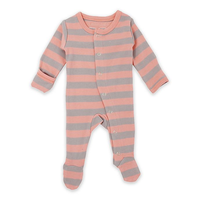 Alternate image 1 for L'ovedbaby® Stripe Footed Organic Cotton Toddler Coverall in Coral/Grey