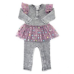Kidding Around Purple Dot Tulle Romper in Grey