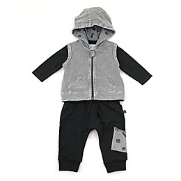 Kidding Around 3-Piece Long Sleeve Top, Vest and Jogger Set in Black/Grey