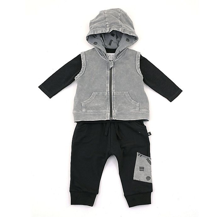 Alternate image 1 for Kidding Around 3-Piece Long Sleeve Top, Vest and Jogger Set in Black/Grey