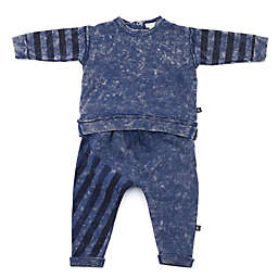 Kidding Around 2-Piece Striped Top and Jogger Set in Blue