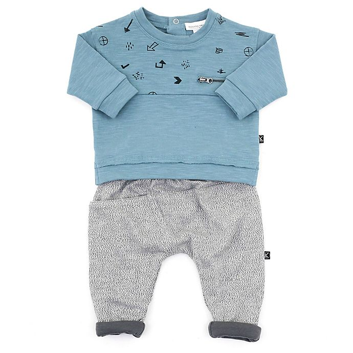 Alternate image 1 for Kidding Around 2-Piece Arrows Print Top and Track Pant Set in Teal/Grey