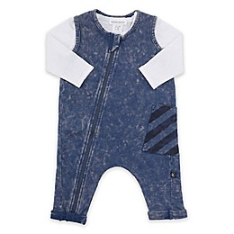Kidding Around 2-Piece Stripe Coverall and Shirt Set in Blue/White