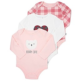 Mini Heroes™ 3-Pack Plaid Long Sleeve Bodysuits in Pink