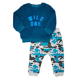 """Mini Heroes® 2-Piece """"Wild One"""" Shirt and Jogger Set in Blue"""